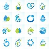 Sistema de los iconos para el agua y la naturaleza Imagen de archivo