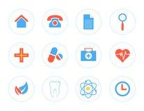 Sistema de los iconos para el centro médico Fotografía de archivo