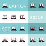 Sistema de los iconos para el negocio de la electrónica del ordenador Foto de archivo libre de regalías