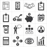 Sistema de los iconos para el negocio, finanzas, m-actividades bancarias Imagen de archivo