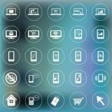 Sistema de los iconos para el web y el móvil Smartphone, ordenador portátil, monitor libre illustration