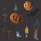 Sistema de los iconos para Halloween ilustración del vector