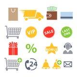 Sistema de los iconos para las compras en línea Imagen de archivo libre de regalías