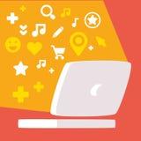 Sistema de los iconos para las redes sociales y del web teniendo en cuenta el lunes Fotografía de archivo