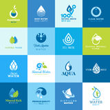 Sistema de los iconos para todos los tipos de agua Imagen de archivo libre de regalías