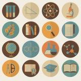 Sistema de los iconos planos de la educación para el diseño ilustración del vector