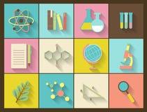 Sistema de los iconos planos de la educación para el diseño stock de ilustración