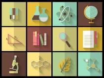 Sistema de los iconos planos de la educación para el diseño Fotografía de archivo libre de regalías