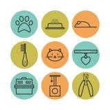 Sistema de los iconos planos de los animales domésticos, símbolos del gato Fotos de archivo libres de regalías