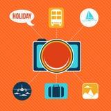 Sistema de los iconos planos del concepto de diseño para el día de fiesta y el viaje Fotos de archivo