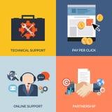 Sistema de los iconos planos del concepto de diseño para el negocio stock de ilustración