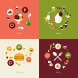 Sistema de los iconos planos del concepto de diseño para el restaurante Imágenes de archivo libres de regalías