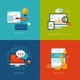 Sistema de los iconos planos del concepto de diseño para el web y mobil Foto de archivo libre de regalías