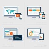 Sistema de los iconos planos del concepto de diseño para los medios sociales  Fotos de archivo