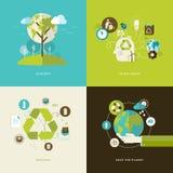 Sistema de los iconos planos del concepto de diseño para reciclar Imagen de archivo libre de regalías