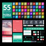 Sistema de los iconos planos del diseño, elementos, aparatos Imagen de archivo