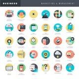 Sistema de los iconos planos del diseño para comercializar y la gestión Imagen de archivo