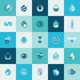 Sistema de los iconos planos del diseño para el agua y la naturaleza Fotografía de archivo