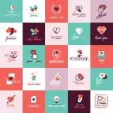 Sistema de los iconos planos del diseño para el día de San Valentín Fotos de archivo