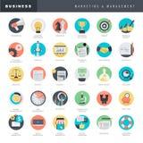 Sistema de los iconos planos del diseño para el negocio y el márketing