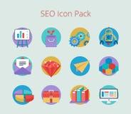 Sistema de los iconos planos del diseño para el negocio y SEO Fotografía de archivo libre de regalías