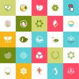 Sistema de los iconos planos del diseño para la belleza y la naturaleza Fotografía de archivo