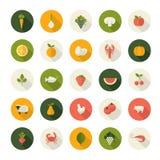 Sistema de los iconos planos del diseño para la comida y la bebida