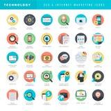 Sistema de los iconos planos del diseño para SEO y el márketing de Internet