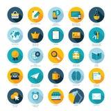 Sistema de los iconos planos del diseño para el comercio electrónico, paga por c Imagen de archivo libre de regalías