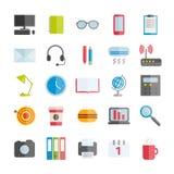 Sistema de los iconos planos del espacio de trabajo del vector moderno para el diseño web Fotografía de archivo libre de regalías