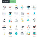 Sistema de los iconos planos modernos de la educación del diseño para el gráfico y los diseñadores web stock de ilustración