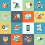 Sistema de los iconos planos modernos del concepto de diseño para las compras en línea Foto de archivo libre de regalías