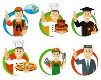 Sistema de los iconos - profesiones stock de ilustración