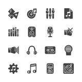 Sistema de los iconos sólidos para la música Ilustración del vector Imágenes de archivo libres de regalías
