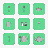 Sistema de los iconos simples para la cuchara de los utensilios Imagen de archivo libre de regalías