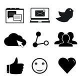 Sistema de los iconos sociales del establecimiento de una red para el web y el móvil Fotos de archivo libres de regalías