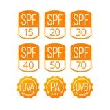 Sistema de los iconos SPF, UVA y UVB para los cosméticos Packagin de la protección solar Imagenes de archivo