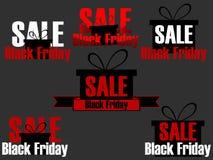 Sistema de los iconos y de etiquetas de Black Friday Etiquetas engomadas en la venta Black Friday Diseño con la caja de regalo en Imagenes de archivo