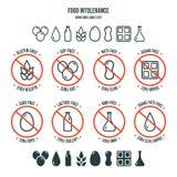 Sistema de los iconos y de etiquetas de la intolerancia de la comida libre illustration