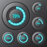 Sistema de los indicadores de progreso redondos, barras. Imagen de archivo libre de regalías