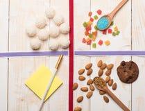 Sistema de los ingredientes para cocinar Fotografía de archivo