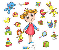 Sistema de los juguetes de la muchacha Fotografía de archivo