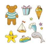 Sistema de los juguetes del bebé para el muchacho Imagenes de archivo