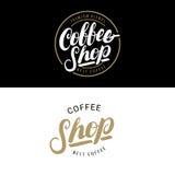 Sistema de los logotipos de la cafetería, de las insignias o de las etiquetas, bandera, cinta Imagenes de archivo