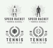 Sistema de los logotipos del tenis del vintage, emblemas, insignias, etiquetas Foto de archivo libre de regalías