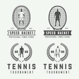 Sistema de los logotipos del tenis del vintage, emblemas, insignias, etiquetas Foto de archivo