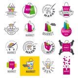 Sistema de los logotipos del vector para el mercado Foto de archivo