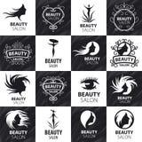Sistema de los logotipos del vector para el salón de belleza ilustración del vector