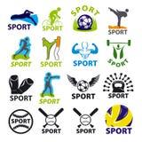 Sistema de los logotipos del vector para los deportes Imagen de archivo libre de regalías