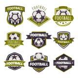 Sistema de los logotipos, emblemas en el tema del fútbol, fútbol Imagenes de archivo